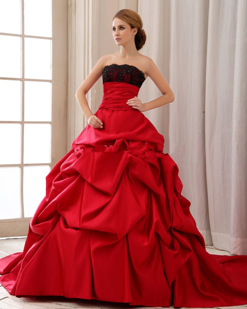 Vintage Gothic Black And Red Satin Ball Gown Wedding