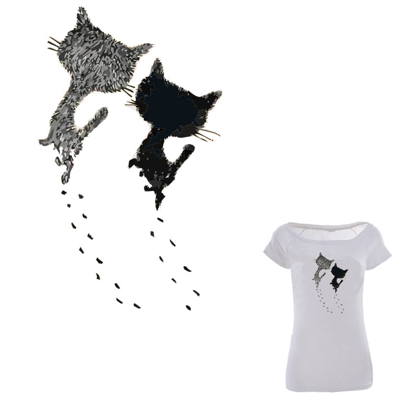 Two Cute Cats Iron On Patch 14*23.2cm Transfer Stickers For T-shirt Dress Christmas Patches A-level Washable