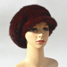 Real mink fur beret women's hat mink beret girl caps french style elegant hats for women cute winter flapcap gray red black  H51