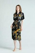 SEDBOJ Custom Made Pure Silk Sleepwear Female British Style Bathrobes Simple Deep V Neck Sleep Plus Size Pajamas