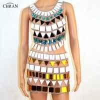 CHRAN seksowne kobiety biustonosz uprząż Halter Crop Top łańcuch nadwozia/Belly Chain modny Bikini Chainmail talia brzuch spódnica dla kobiet prezent