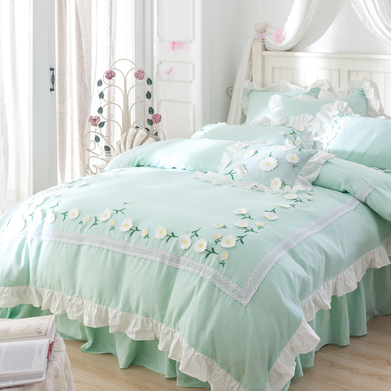Green color 100%Cotton Korean Princess style Flower Bedding Set Queen King size Girls Be ...