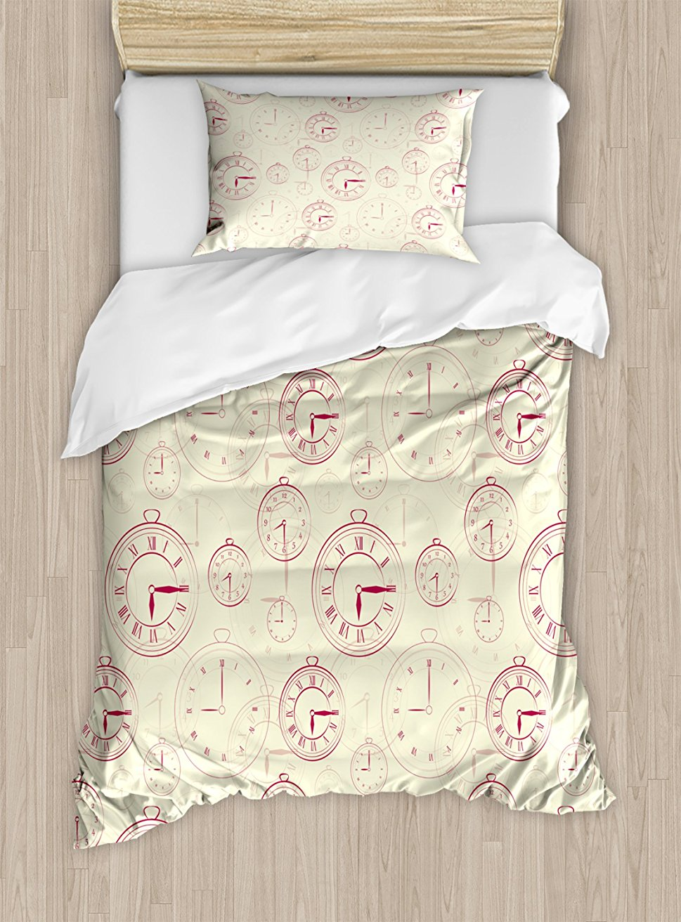 Часы постельное белье Винтажные часы с римские цифры антикварная машина времени узор иллюстрация 4 шт. Постельное белье