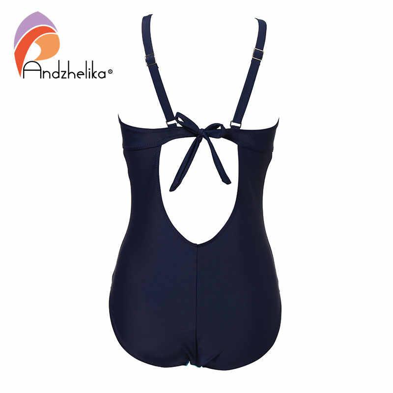 Andzhelika женский цельный купальный костюм новый сексуальный складной купальный костюм ретро комбинезон большого размера спортивные пляжные купальники купальный костюм Монокини