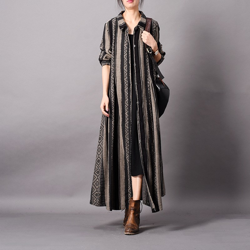 Coton Printemps Dames Cardigans Pardessus Femelle Femmes Gris Long Patchwork Mince Tranchée Lin Bande gfCZxw5q