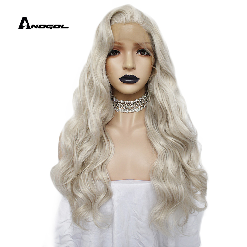Anogol Widow Peak Style High Temperature Fiber Hair Free Part Long Body Wave Platinum Blonde Synthetic Lace Front Wig For Women
