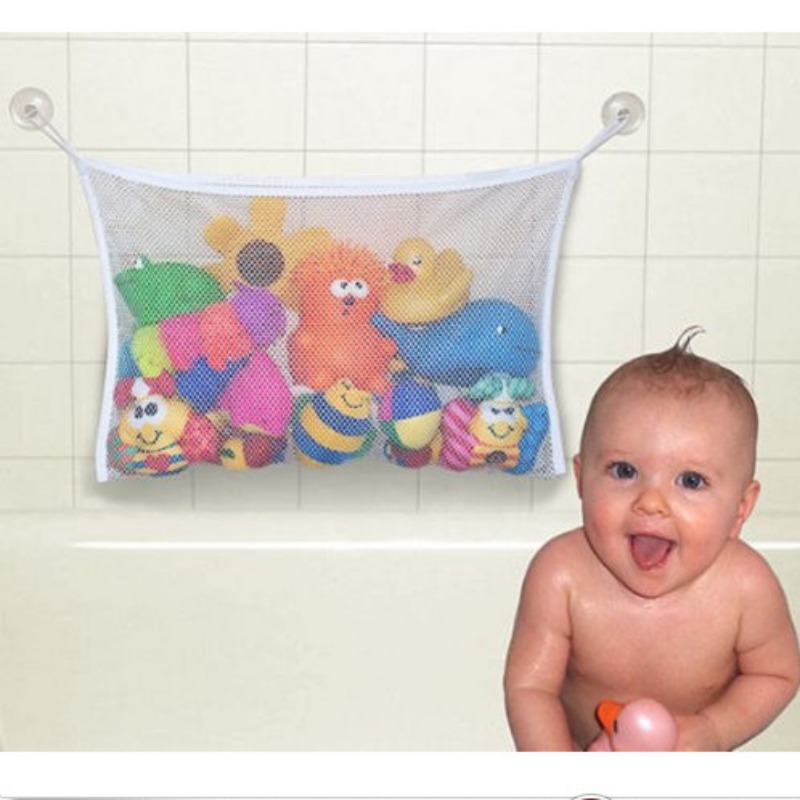 Newborn Baby Bathing White Storage-Bag Can be installed over Baby Toys Mesh Bath Bathtub Doll Organizer Suction Bathroom Toys