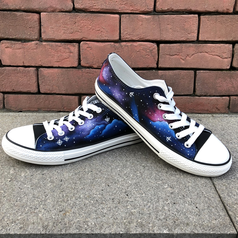 Wen Original Hand Painted Shoes Design Custom Stars Blue Galaxy Nebula Low Top Canvas Sneakers for Men WomenWen Original Hand Painted Shoes Design Custom Stars Blue Galaxy Nebula Low Top Canvas Sneakers for Men Women