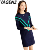 YAGENZ Autumn Winter Knitte Sweater Dress Women Clothing O Neck Loose Pullover Sweater Medium Long Knitted