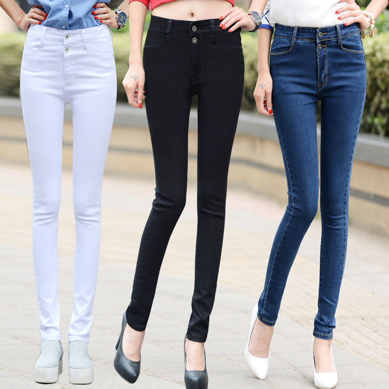 2016 Autumn and Winter New Elastic High Waist Jeans Female Trousers Slim was Thin Feet Pants AXD1520
