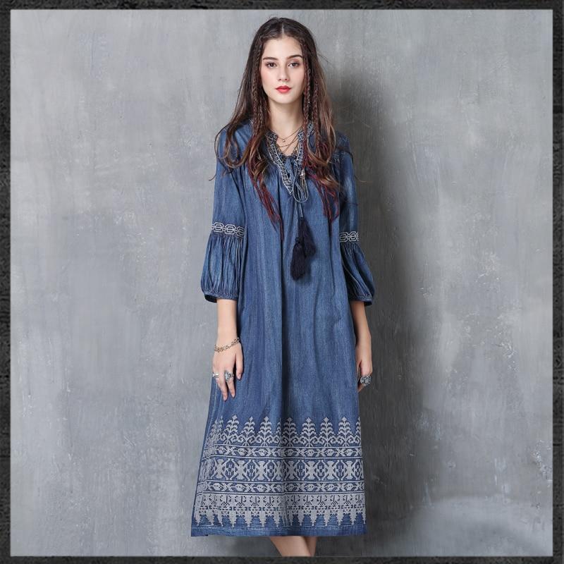 Women Denim Dress 2018 Keer Boho Cotton Embroidery Dresses Vintage V-Neck Lantern Sleeve Vestidos A82053 Feminina Vestido