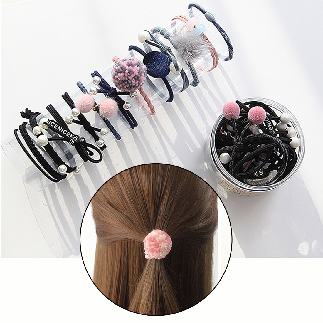 12pcs/set Girls Hair Band Cute ball Pearl Bow Elastic Rubber Bands Hair Ropes Ponytail Holder Tie Gum Hair Accessories new 10pcs women lady hair band velvet elastic ponytail tie bow rubber bobbles lovely