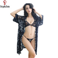 2018 New Large Size Summer Pajamas V Neck Transparent Lace Long Sleeved Pajamas Sexy Pajamas Adult Lingerie + Thongs JW131