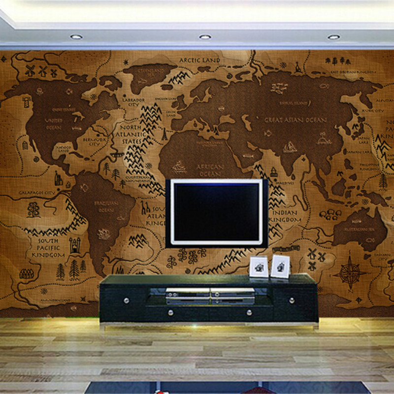 Custom 3d wall paper retro nostalgia large mural hotel living room TV background 3D wallpaper world map Continental book knowledge power channel creative 3d large mural wallpaper 3d bedroom living room tv backdrop painting wallpaper