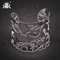 RIR High Quality Can Choose Hollow Out Variety Of Design Stainless Steel Silver Bangle Bracelet Hand