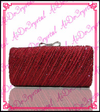 Aidocrystal red Shining gold crystal clutch evening bags and shoes set for party