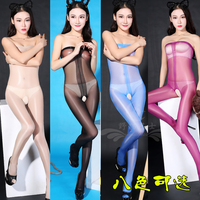beautiful shiny smooth silk open bra seamless stockings conjoined nightclub dress all flash