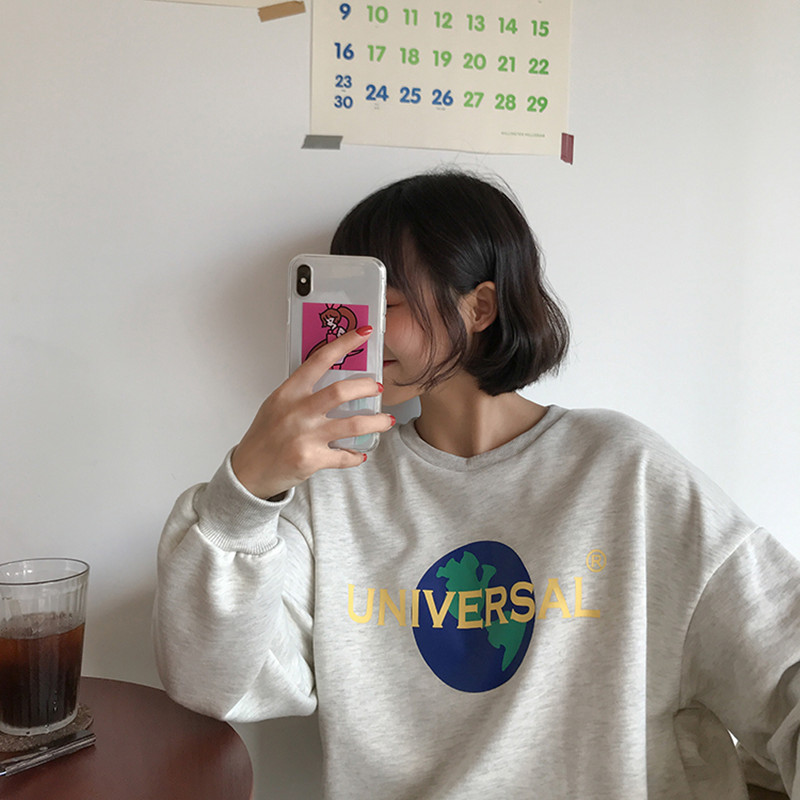 2 Colors 2018 Korean Preppy Style Cartoon Letter Print Long Sleeve Female Sweatshirts Womens Streetwear Clothes (F3568)