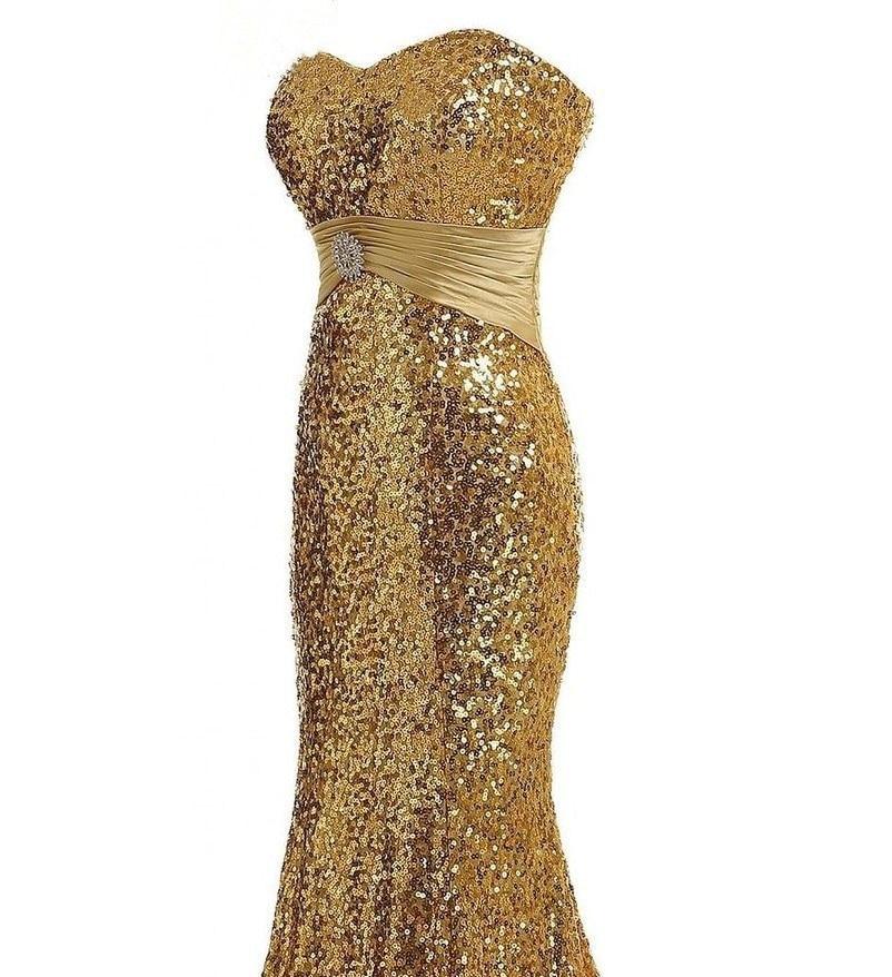 Chérie paillettes or sirène robes de soirée longueur de plancher grande taille argent brillant femmes robes de bal festkjole - 3