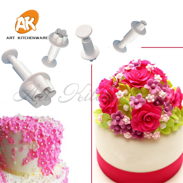 Flower Blossom Plunger Cutters Sugarcraft Fondant Plunger Cake