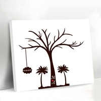 Vintage Fingerprint Tree Canvas Wedding Tree Guest Book Customized Names Gift and Favors Bridal Shower Wedding Party Decoration