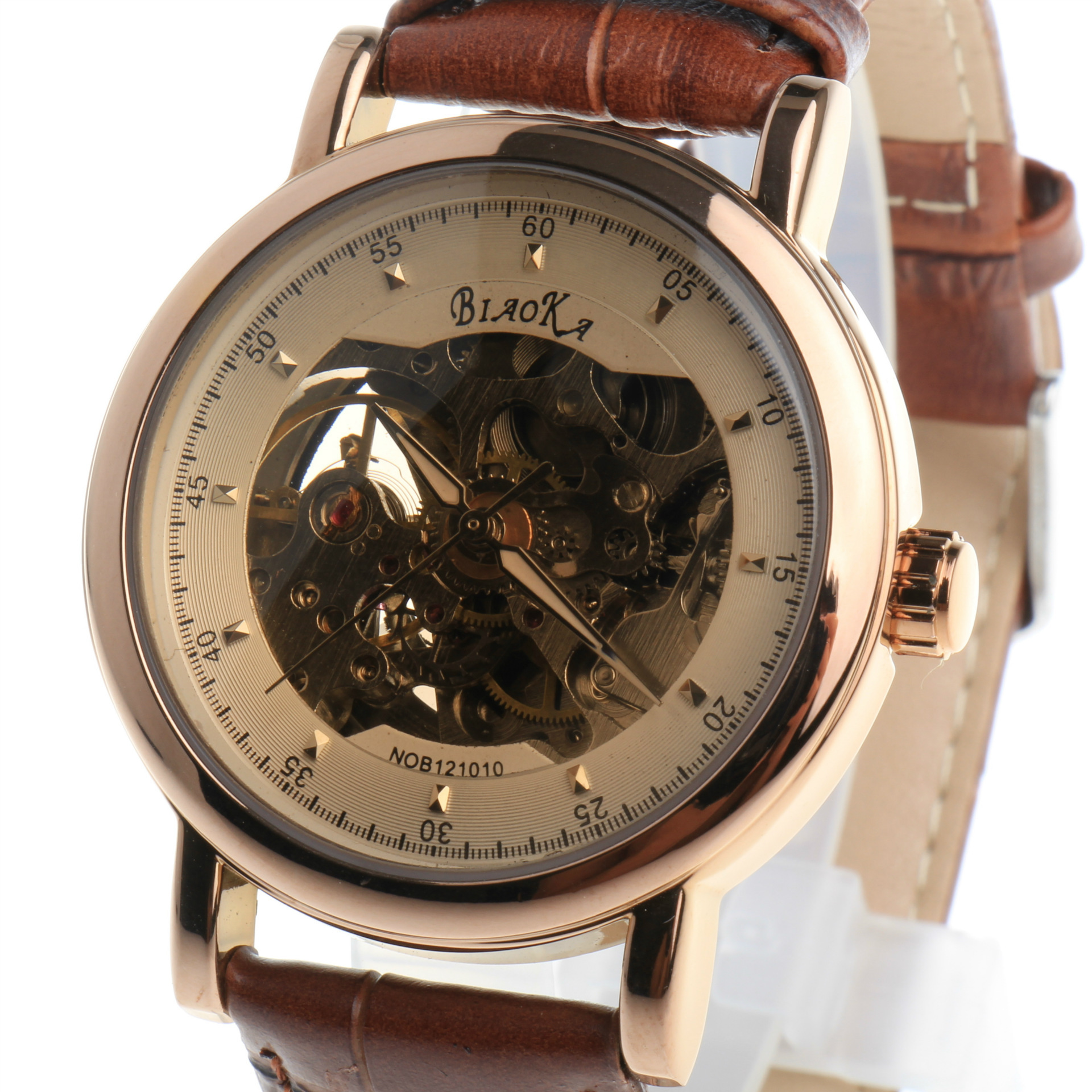 2016 New Brand BIAOKA Brown Glass Hollow Belt Waterproof Men s Automatic Mechanical Watch Rose Gold
