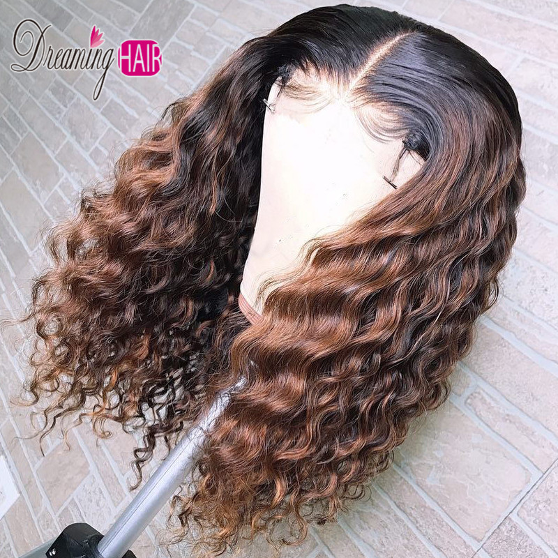 Chocolate Brown Color 13x6 Short Bob Lace Front Human Hair Wigs Peruvian Curly Human Hair Wig For Black Women Lace Wig