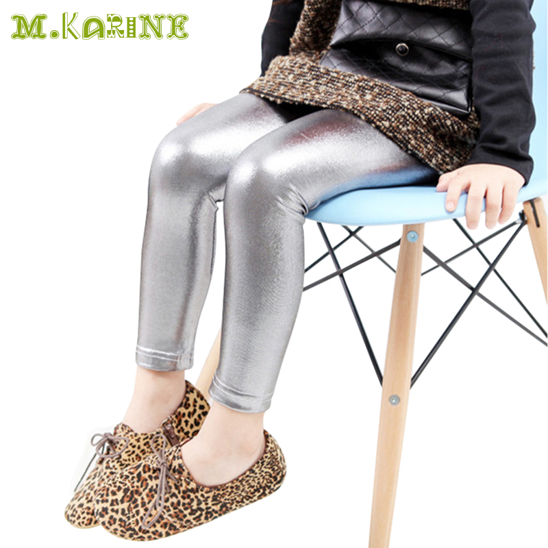 3-10 Year Skinny Black Kids Leather Pants Girls Legging Baby Pants Cool Kid leggins Gold Silver Child Legging Fantasia Infantil