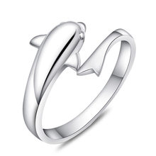 High Quality Jewelry Wholesale Fashion Cute Dolphin Ring Adjustable Wedding 925 Sterling Silver Rings for Women(China)