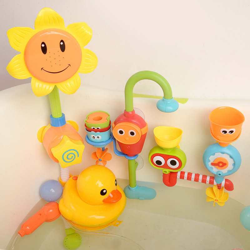 Babybath Toy Baby Bath Play Water Turn Around Sunflower Flower Sprinkle Girl Boy Toy Toddler Bathtub Toys Girl Toys