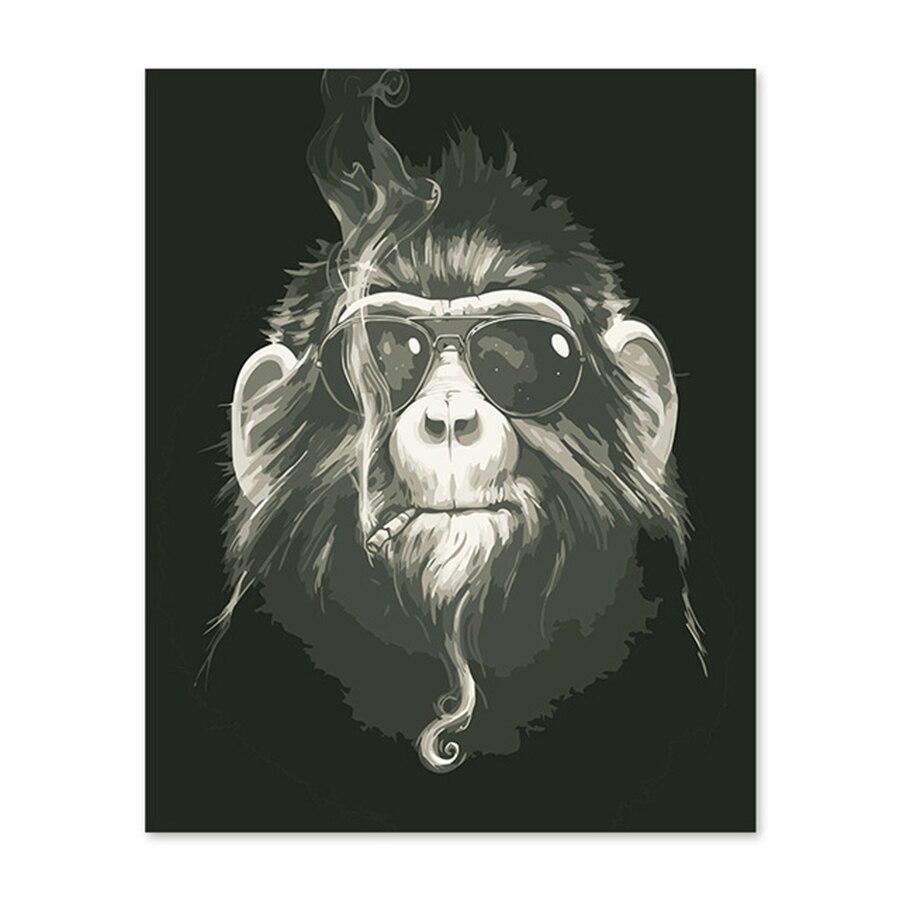 US $9 0 OFF Digital Minyak Lukisan Abstrak Orangutan Monyet Hitam Angin Tuan Kartun Keren Painting & Calligraphy AliExpress