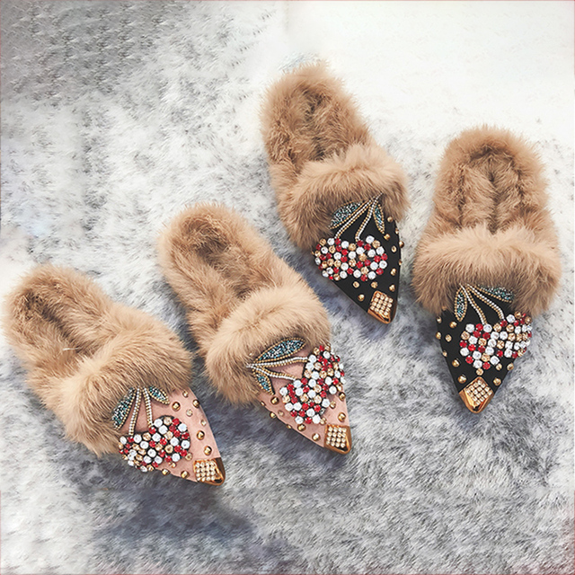 Fur Flats Luxury Women Crystal Shoes Fox Mules Black Fuzzy Slip On Fluffy Fashion Ladies Designer Winter Shoes Women Footwear