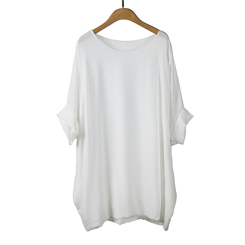 Loose-Plus-Size-Women-Chiffon-Blouses-Fashion-White-Shirts-O-Neck-Summer