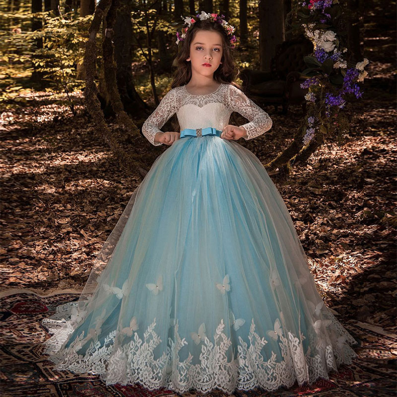 Lace Long Sleeves Flower Girl Dress with Butterfly Decoration Keyhole Back Blue Tulle Kids Party Ball Gowns with Satin Sash Bow pleated panel keyhole back dress