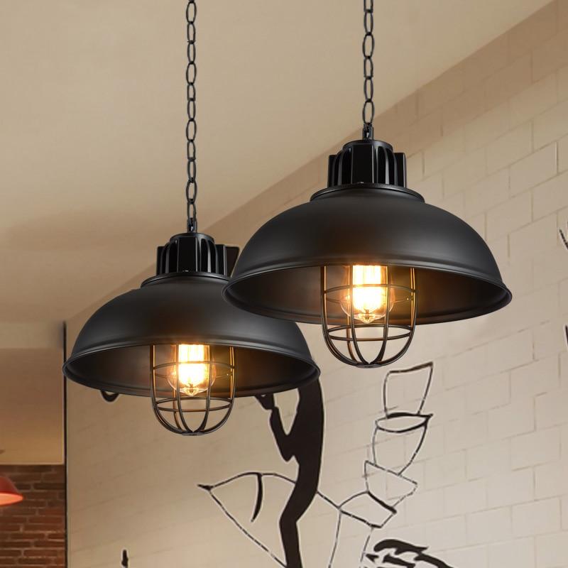 Rétro Pendentif Lumières Industrielle cage lampe à pétrole hanglampen Loft lumière Américain Style métal abat Appareils Cuisine lampe