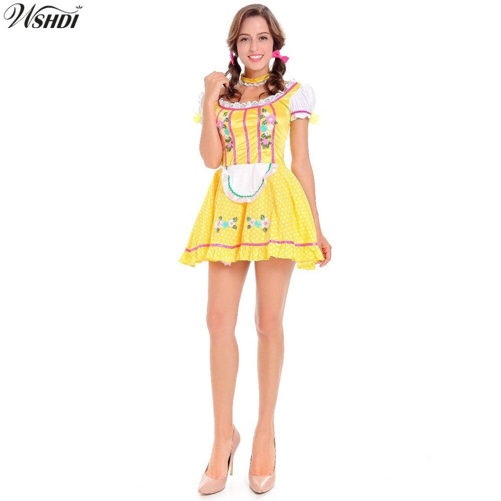 2018 Carnaval Festival October Beer Maid Costume German Wench Uniforms Oktoberfest Beer Girls Dirndl Fancy Dress