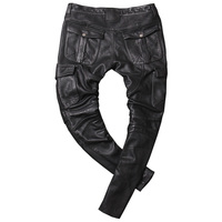 HARLEY DAMSON Black Men Long Motorcycle Leather Trousers Plus Size XXXXL Genuine Cowhide Spring Natural Biker's Leather pants