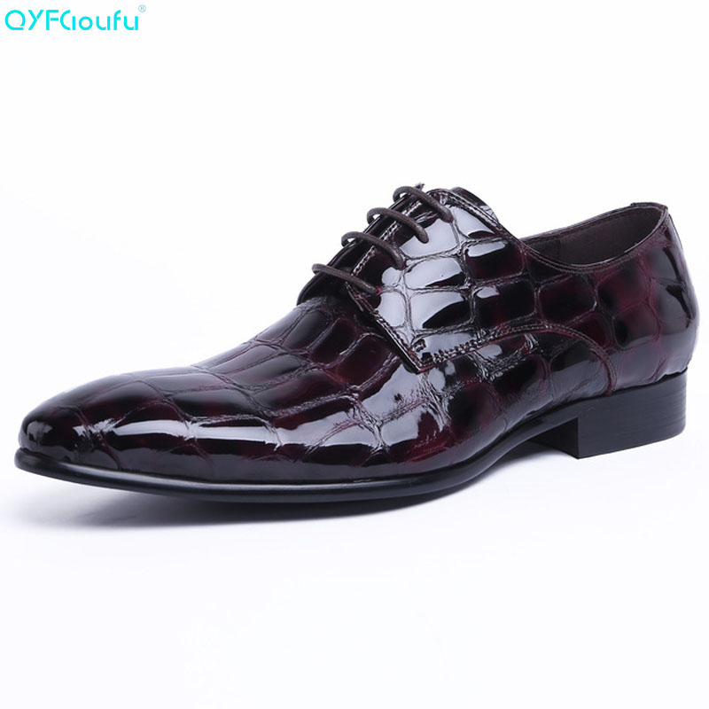 QYFCIOUFU 2019 Men Formal Business Crocodile Pattern Men Dress Shoes Patent Leather Dress Shoes Male Casual Genuine Leather ShoeQYFCIOUFU 2019 Men Formal Business Crocodile Pattern Men Dress Shoes Patent Leather Dress Shoes Male Casual Genuine Leather Shoe