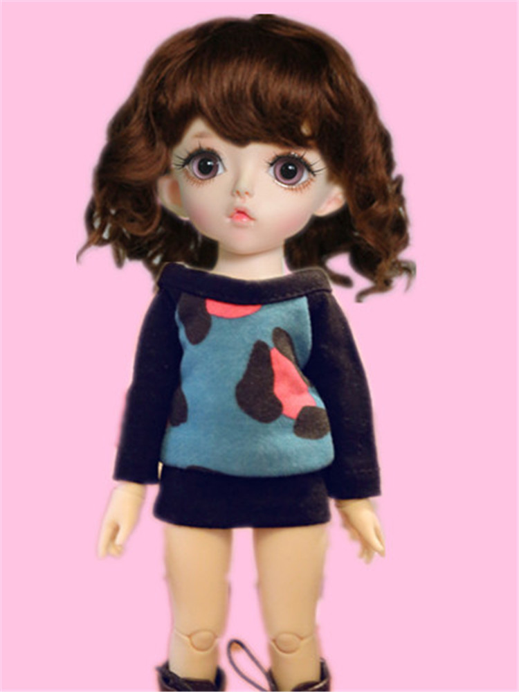 JD012 1/12 Cute curly BJD mohair wigs in size 4-5inch doll wig fashion doll accessories Toy hair 5 120g adoult tooque wigs scissorhands black wig curly halloween men wigs costume accessory qy 923635