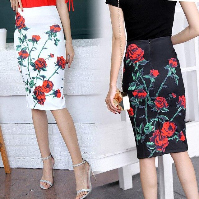 eec009db42c 2018 Summer Style Pencil Skirt Women High Waist Green Skirts Vintage  Elegant Bodycon Floral Print Midi Skirt Jupe Falda Femme