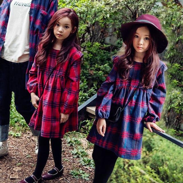 5b79570d30e Lanterne manches grandes filles robes hiver automne 2017 petites filles d hiver  vêtements bleu rouge