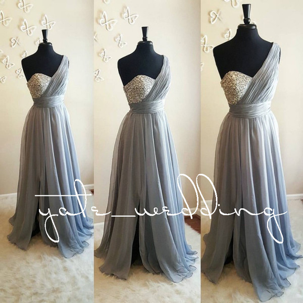 One Shoulder Crystal Beaded   Bridesmaid     Dresses   2018 Long Gray Purple Chiffon African Wedding Party Guest Maids elegant