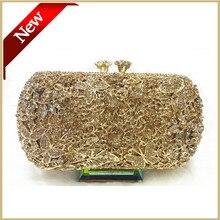 Voll Goldenen Diamant-abend-handtasche-qualität Frauen partei taschen geldbörsen Lange Kette clutch mit kristallen geschenkbox verpackung