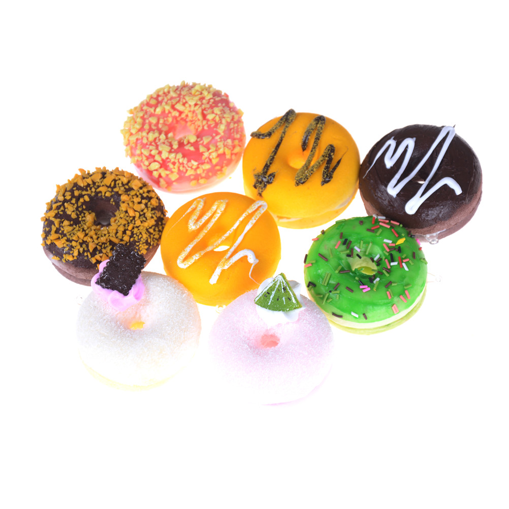 1Pc Soft Pu Artificial Fake Bread Donuts Doughnuts Simulation Model Ornaments Cake Bakery Room Home Decoration Craft Toys