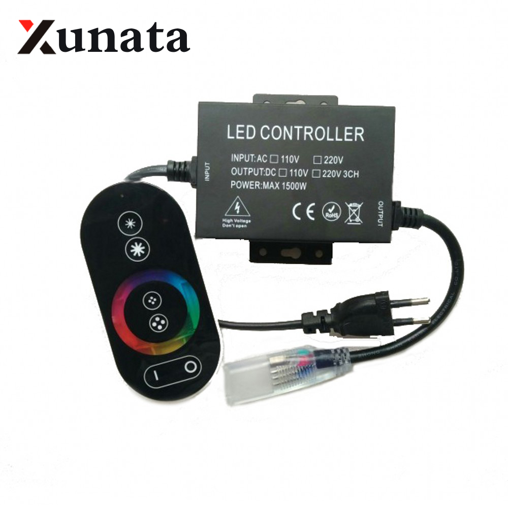 1500W 220V 110V RGB Controller RF Touch <font><b>Remote</b></font> <font><b>Led</b></font> <font><b>dimmer</b></font> EU/US/AU/UK plug 8mm/10mm/12mm PCB RGB <font><b>Led</b></font> <font><b>strip</b></font> Connector plug image