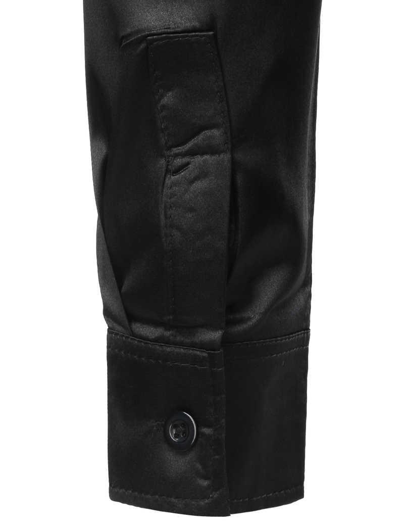メンズスパンコールグリッターシルクサテン黒のドレスシャツ 2019 新長袖ボタンダウンディスコステージウェディングシャツナイトクラブパーティー衣装