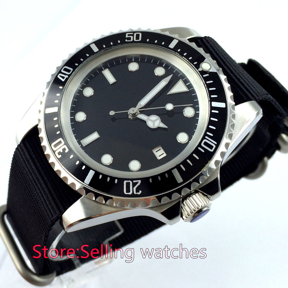 42mm parnis black Sterile dial steel automatic movement mens wrist watch цена и фото