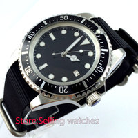 42mm parnis black Sterile dial steel automatic movement mens wrist watch