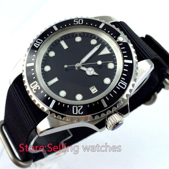 42mm parnis czarny sterylne dial ze stali nierdzewnej automatyczny ruch mężczyzna zegarek na rękę