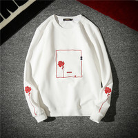 Autumn New Men hoodie Warm And Stylish Fashion Flower Embroidery Casual And Comfortable Trend Male Clothes Pullover Man